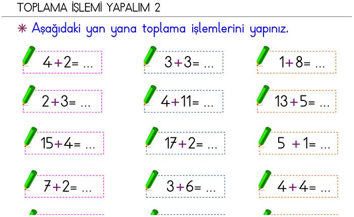 1 Sinif Matematik Dersi Odevleri Morpa Kampus