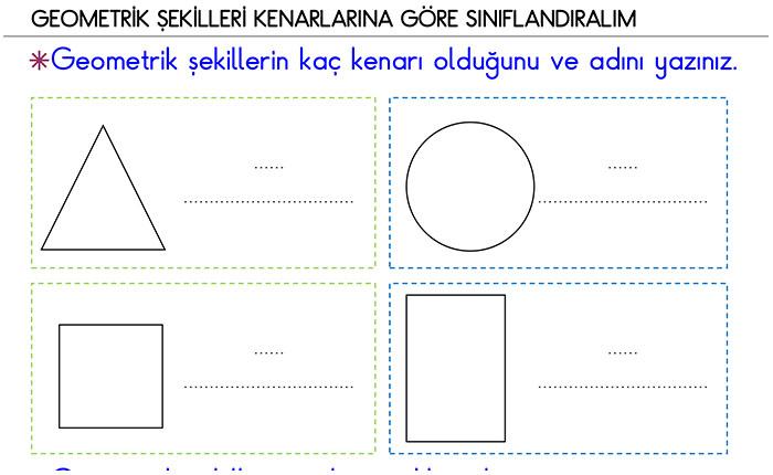 1 Sınıf Geometrik şekilleri Köşe Ve Kenar Sayılarına Göre