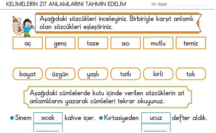 Kelimelerin Zit Anlamlilarini Tahmin Edelim 2 Sinif Turkce