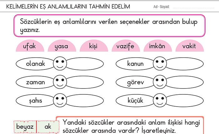 Kelimelerin Es Anlamlilarini Tahmin Edelim 2 Sinif Turkce