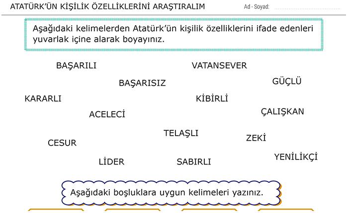 Atatürkün Kişilik özelliklerini Araştıralım 3 Sınıf Hayat