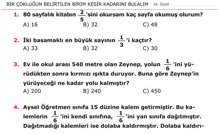 Kesirler 3 Sinif Matematik Morpa Kampus