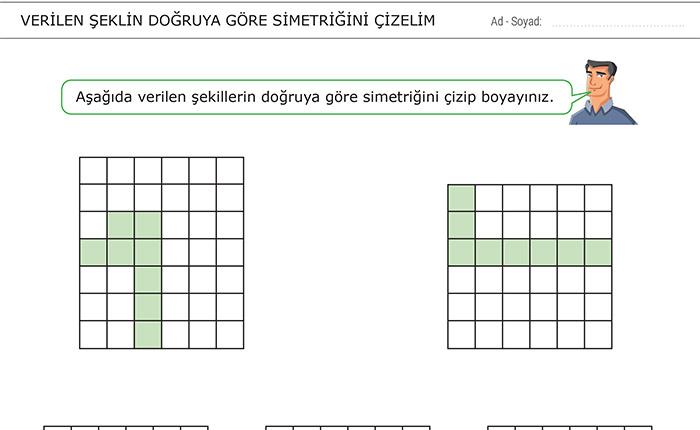 Verilen Şeklin Doğruya Göre Simetriğini Çizelim