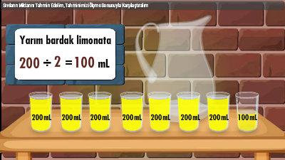 Sıvıların Miktarını Tahmin Edelim, Tahminimizi Ölçme Sonucuyla Karşılaştıralım