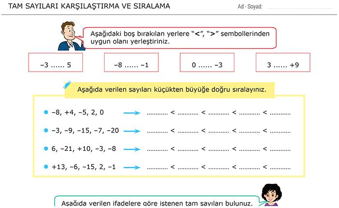 Tam Sayilari Karsilastirma Ve Siralama 6 Sinif Matematik