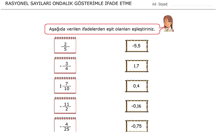 7 Sınıf Rasyonel Sayılar Matematik ödevleri Morpa Kampüs