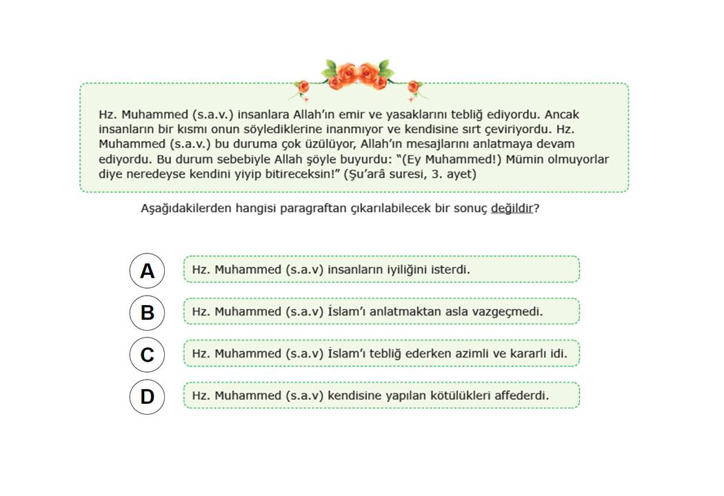 8. Sınıf TEOG Din Kültürü ve Ahlak Bilgisi Soru